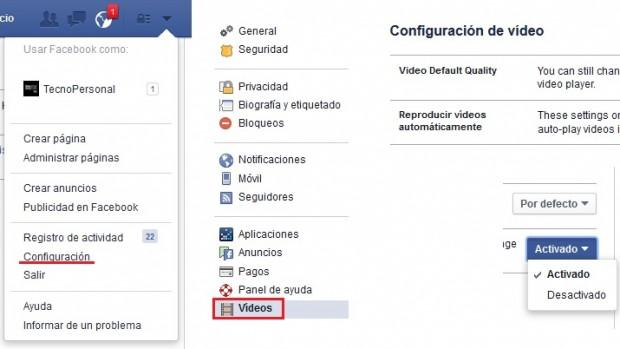 Desactivar vídeos automáticos de Facebook